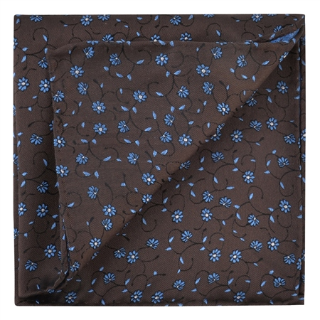 Brown & Blue Flower Print Silk Pocket Square  - Click to view a larger image
