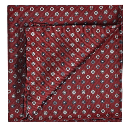 Flower Print, Red, Silver & Grey Pocket Square  - Click to view a larger image