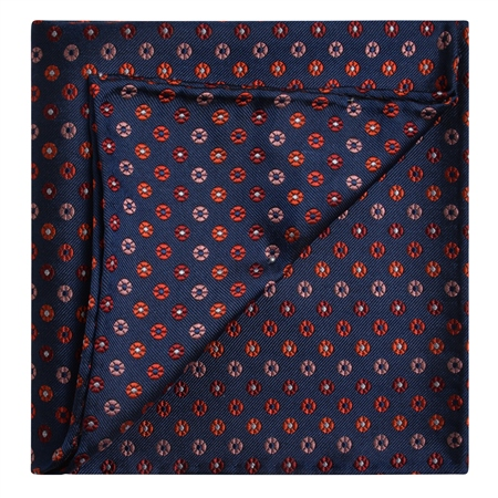 Navy, Red & Pink Silk Pocket Square  - Click to view a larger image