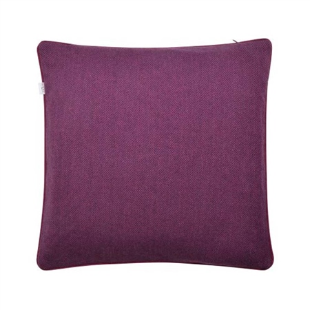 "18"" Purple Herringbone Wool & Cashmere Cushion  - Click to view a larger image"