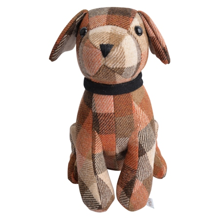 Brown, Camel & Oat Patchwork Dog Door Stopper  - Click to view a larger image