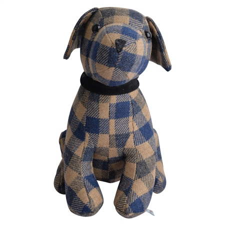 Caramel & Blue Dog Door Stopper  - Click to view a larger image