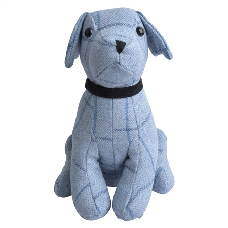 Sky Blue & Navy Donegal Tweed Dog Door Stopper  - Click to view a larger image