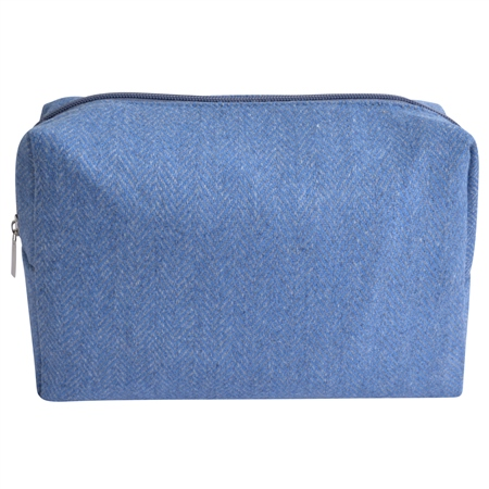 Medium Blue Herringbone Donegal Tweed Make-Up Bag  - Click to view a larger image