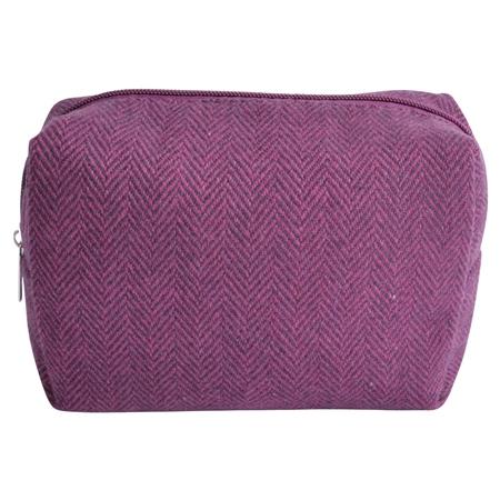 Medium Purple Herringbone Donegal Tweed Make-Up Bag  - Click to view a larger image