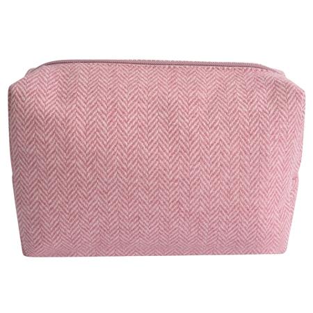 Medium Pale Pink Herringbone Donegal Tweed Make-Up Bag  - Click to view a larger image