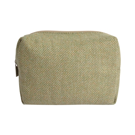 Small Green & Oat Herringbone Donegal Tweed Make-Up Bag  - Click to view a larger image