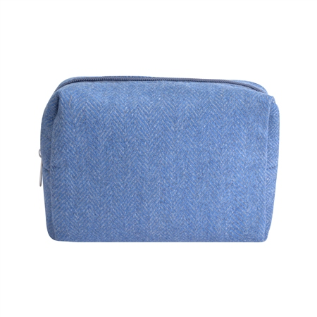 Small Blue Herringbone Donegal Tweed Make-Up Bag  - Click to view a larger image