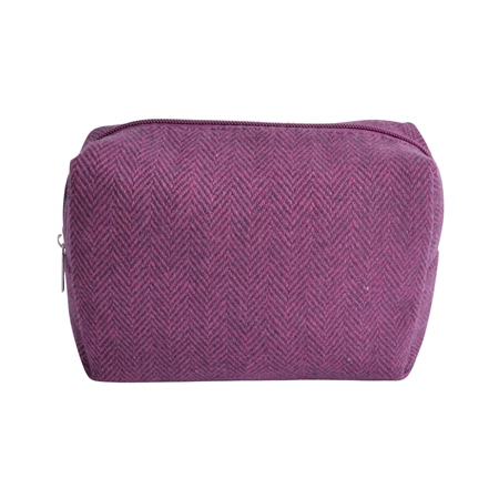 Small Purple Herringbone Donegal Tweed Make-Up Bag  - Click to view a larger image