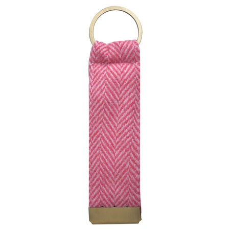 Pink & Oat Herringbone Donegal Tweed Keyring  - Click to view a larger image