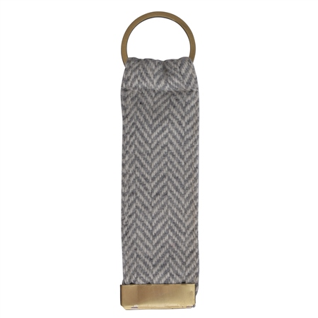 Grey Herringbone Donegal Tweed Keyring  - Click to view a larger image