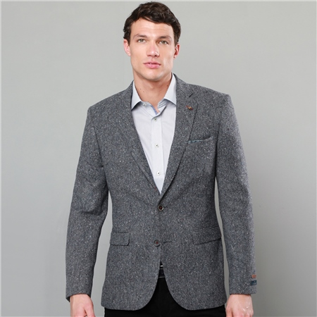 Grey Salt & Pepper Donegal Tweed Tailored Fit Jacket  - Click to view a larger image