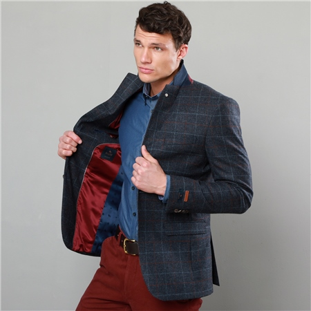 Blue & Rust Checked Tweed Tailored Fit Tweed Blazer   - Click to view a larger image