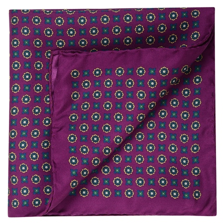 Geometric Print, Purple, Navy & Gold Pocket Square  - Click to view a larger image