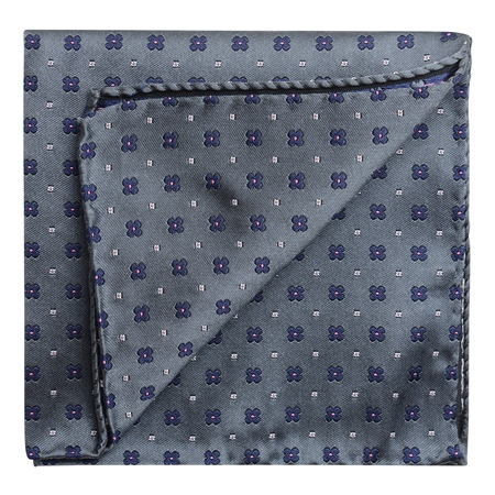 Flower Print Grey & Purple Pocket Square  - Click to view a larger image