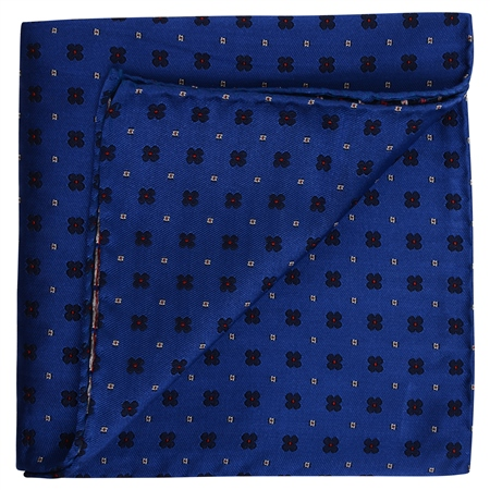 Flower Print Blue Pocket Square  - Click to view a larger image