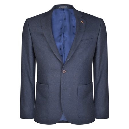 Navy & Blue Patch Pocket Tailored Fit Jacket  - Click to view a larger image