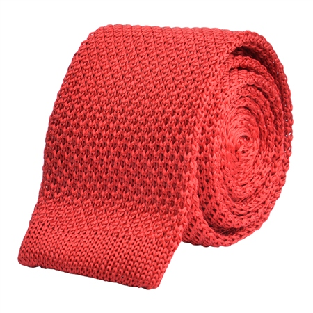 Red Knitted Silk Tie  - Click to view a larger image