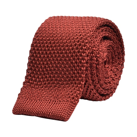 Rust Knitted Silk Tie  - Click to view a larger image