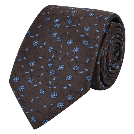 Brown & Blue Flower Print Silk Tie  - Click to view a larger image