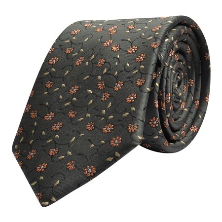 Flower Print, Brown Orange & Gold Silk Tie  - Click to view a larger image