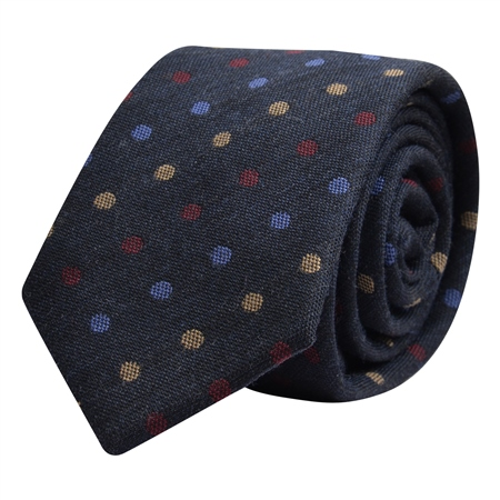 Navy, Blue, Red & Gold Polka Dot Tie  - Click to view a larger image
