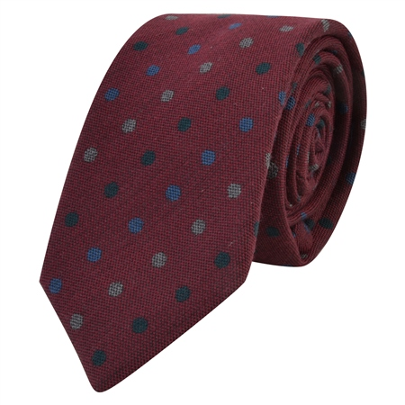 Red, Blue and Grey Polka Dot Tie  - Click to view a larger image