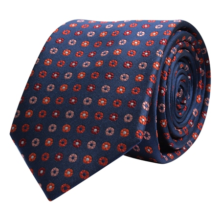 Flower Print, Navy, Red & Pink Silk Tie  - Click to view a larger image