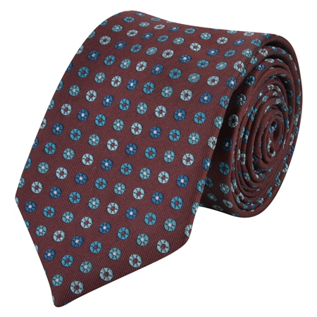 Flower Print, Burgundy & Blue Silk Tie  - Click to view a larger image