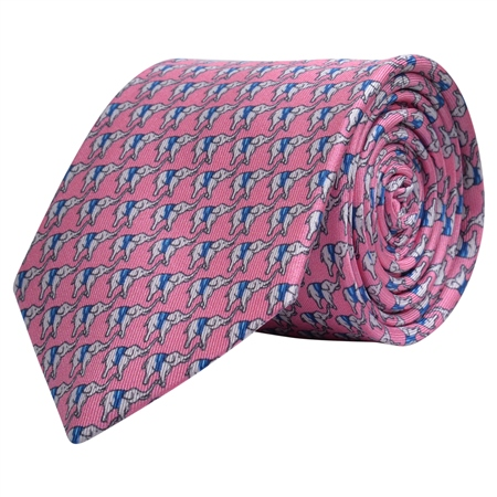 Elephant Print, Pink Silk Tie  - Click to view a larger image