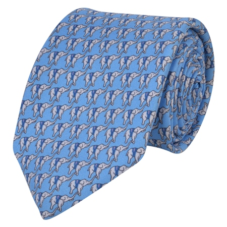 Elephant Print Light Blue Silk Tie  - Click to view a larger image