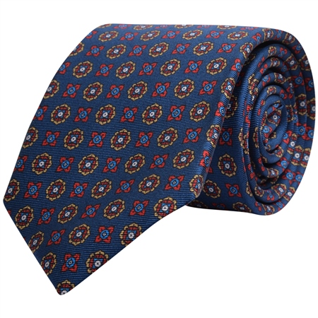 Geometric Print, Navy, Red & Gold Silk Tie  - Click to view a larger image