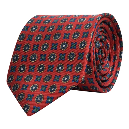 Geometric Print, Red, Navy & Gold Silk Tie  - Click to view a larger image