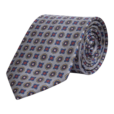 Geometric Print, Grey, Red & Blue Silk Tie  - Click to view a larger image