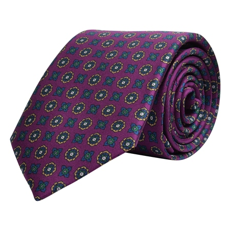 Geometric Print, Purple, Navy & Gold Silk Tie  - Click to view a larger image