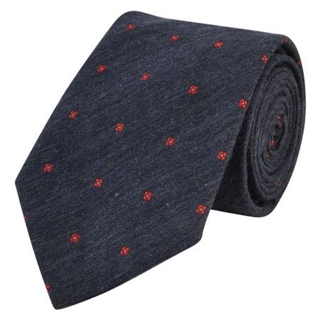 Flower Print, Navy & Red Woven Tie  - Click to view a larger image