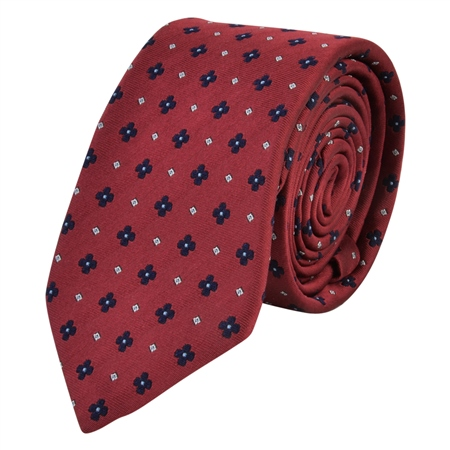 Flower Print, Red & Blue Woven Silk Tie  - Click to view a larger image