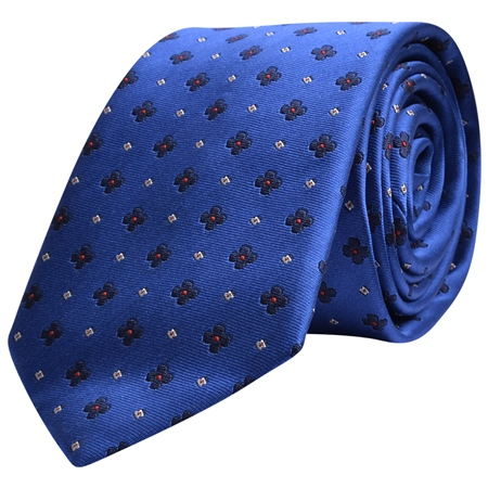 Flower Print Blue & Navy Print Silk Tie  - Click to view a larger image