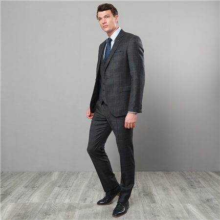 Charcoal & Blue Checked 3 Piece Tailored Fit Suit  - Click to view a larger image