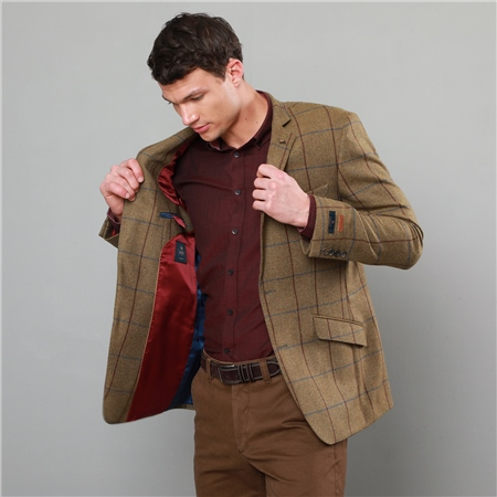 Light Brown Windowpane Checked Classic Fit Blazer  - Click to view a larger image