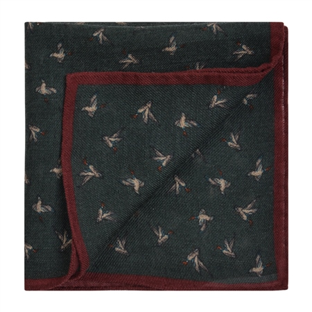 Bird Print, Green & Red Wool Pocket Square  - Click to view a larger image
