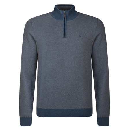 Navy Cashelenny Cotton Birdseye Classic Fit Jumper  - Click to view a larger image