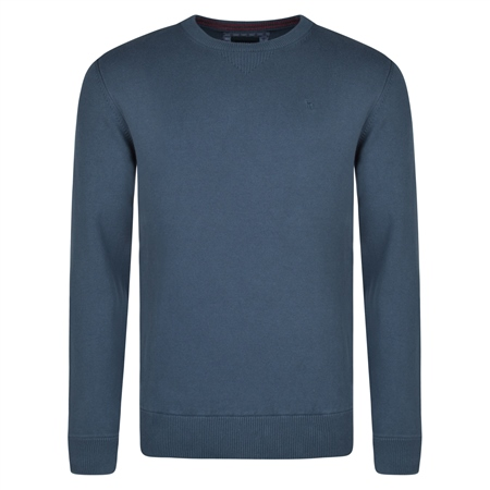 Navy Carn Crew Neck Classic Fit Sweater  - Click to view a larger image
