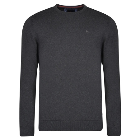 Charcoal Carn Cotton Crew Neck Classic Fit Jumper  - Click to view a larger image