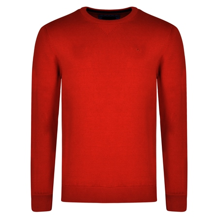 Rust Carn Cotton Crew Neck Classic Fit Jumper   - Click to view a larger image