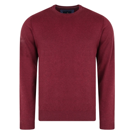 Burgundy Carn Cotton Crew Neck Classic Fit Jumper   - Click to view a larger image