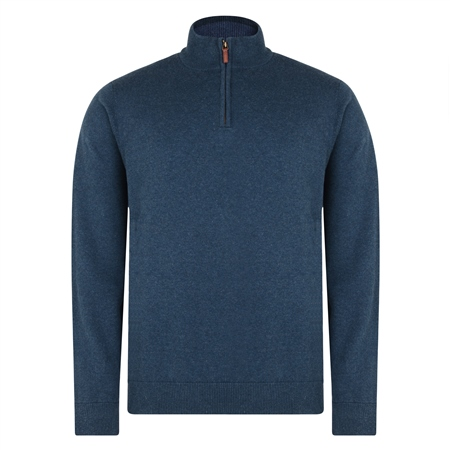 Navy Carn Cotton 1/4 Zip Neck Classic Fit Jumper  - Click to view a larger image