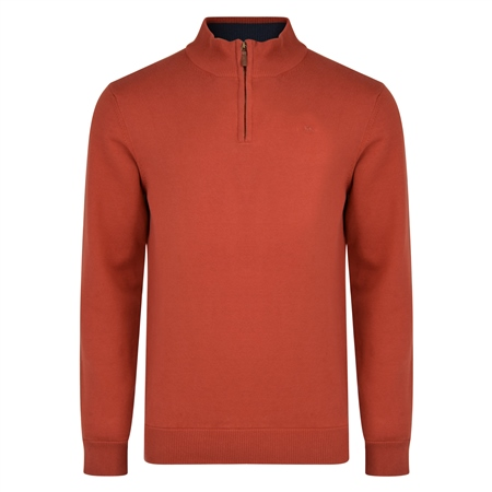 Rust Carn Cotton 1/4 Zip Neck Classic Fit Jumper  - Click to view a larger image