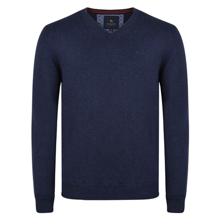 Navy Carn Cotton V-Neck Classic Fit Jumper  - Click to view a larger image