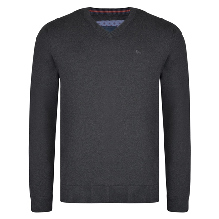 Charcoal Carn Cotton V Neck Classic Fit Jumper  - Click to view a larger image